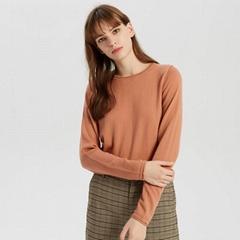 Latest Design Crew Neck Plain Cashmere Merino Wool Spring Sweater Women