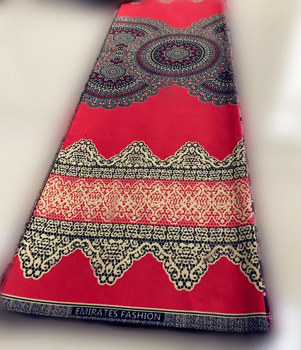 Hot sale delicate 6 yard printed 100% polyester African fabrics 3