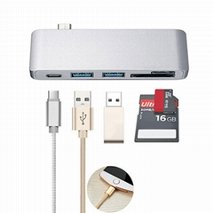 5 in 1 Type-C Hub Adapter with 3 USB 3.0 Ports(5GB/s) and 1 USB Type-C hub