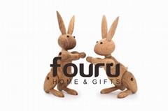 Mid Century Danish Modern Wood Ornaments Rabbit,Oak Wood Carving Rabbit Decorati