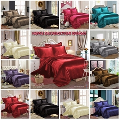 NEW KING SIZE 6PCS SATIN SILK BEDDING SET QUILT COVER FITTED SHEET PILLOW CASES
