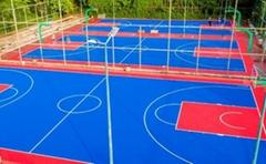 室外籃球場懸浮式拼裝塑膠運動地板