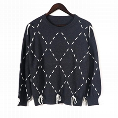 2019 FW fashionable diamond strings ladies knitted pullover sweaters