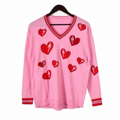 2019 ladies fashionable soft print with heart stones knitted pullover sweater