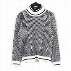 2019 FW ladies fashionable turtleneck black white matching pullover sweaters