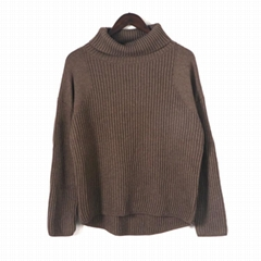 2019 FW ladies fashionable turtleneck loose knitted pullover sweaters