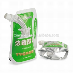 Custom print food grade nontoxic yogurt plastic packaging bag with spout pouch f