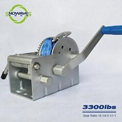 Hand Winch 3300lb 3 Gear Ratchet Webbing Length 7.5m Boat Winch Flexible Handle