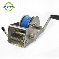Hand Winch 1500lb Webbing Length 7.5m Boat Winch Flexible Handle Stainless Steel