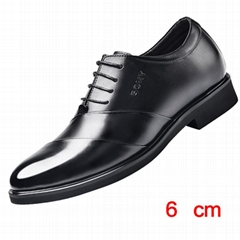 Height increasing 6 cm elevator dress shoes for men genuine leather