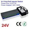 24V 120W 9 Ports 8 PoE Injector Switch