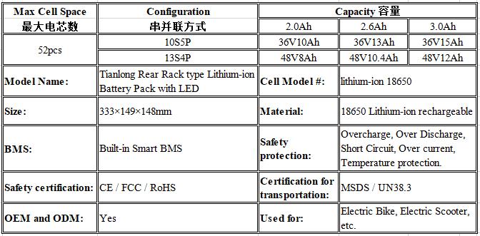 24V 36V 48V Back Rack Shelf L   age Battery Ebike Electric Bike Lithium Battery 4