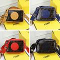 Fendi bag KAN I  Black leather FENDI CAMERA CASE Multicolor canvas bag purse 6