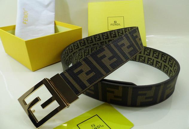 Fendi belt man cow real leather High-grade meta ldouble F with box package   14