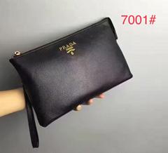Fashion Prada wallet men cluth bag parda leather purse black small bag