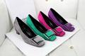 Rogervivier shoes lady court fashion pump suede leather flat sandal ruby slipper
