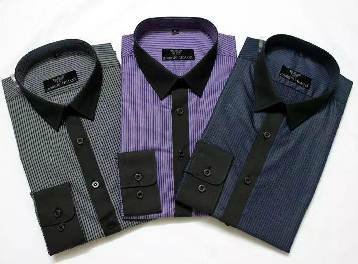 Armani Point collar shirt dress fashion blouse man long suit armani overshirt  7