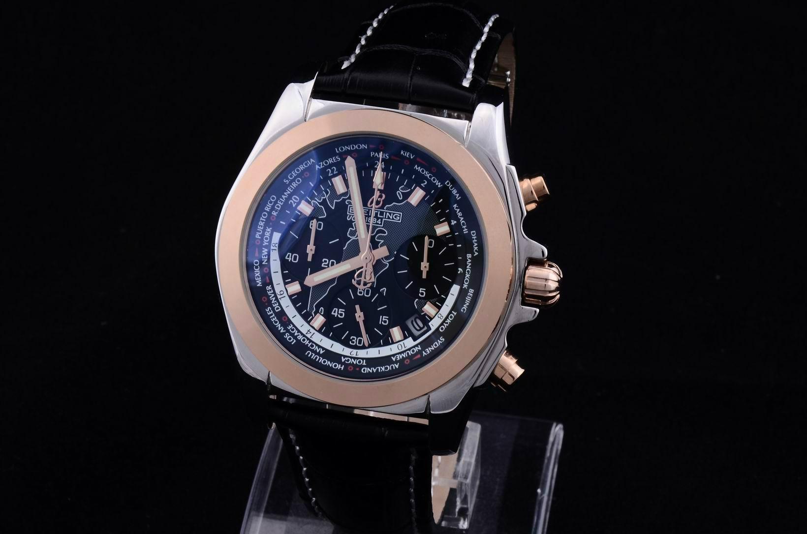 Breitling wristwatch breiting watch man blue face quartz watches stem-winder