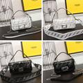 Fendi bag KAN I  Black leather FENDI CAMERA CASE Multicolor canvas bag purse 13