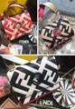 Fendi bag KAN I  Black leather FENDI CAMERA CASE Multicolor canvas bag purse 15