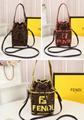Fendi bag KAN I  Black leather FENDI CAMERA CASE Multicolor canvas bag purse 19