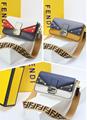 Fendi bag KAN I  Black leather FENDI CAMERA CASE Multicolor canvas bag purse 20