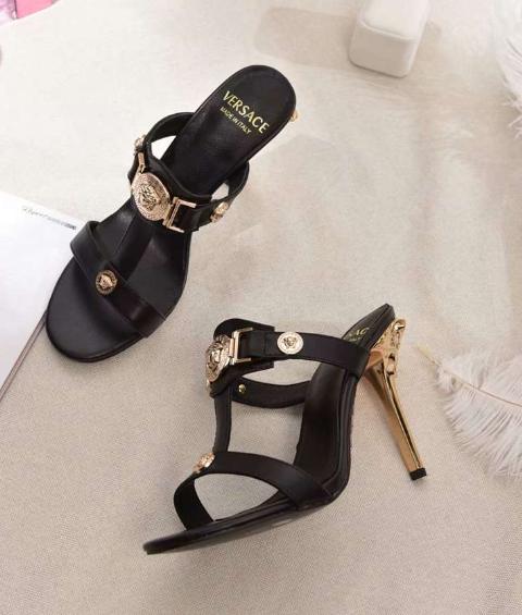 Versace 90s Vintage Logo Mid Heel Sandals Icon Leather Sandalsn versace slides 8