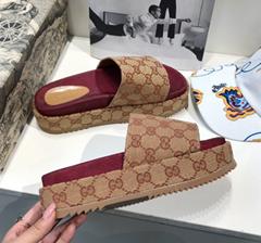 Gucci woman's original GG slide sandal matelassé canvas slipper gucci loafer (Hot Product - 7*)