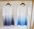 T-Shirt       Oblique Motif Gradient White-to-Blue Jersey      polo shirts