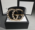 GUCCI BELT LADY Wide leather belt with pearl Double G WITH BOX gucci strap 7CM