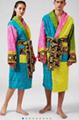 Versace bath towel cutton washcloth jacquard versae bathrobe black home barocco