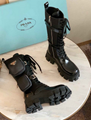PRADA ANKLE BOOT Brushed rois leather and nylon Monolith boots