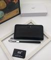 Mont blanc wallet real leather purse man zipper burse notecase gift box