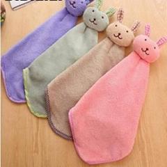 Smiling Face Hanging Hand Towels Kitchen Towel Coral Velvet Absorbent Lint-Free