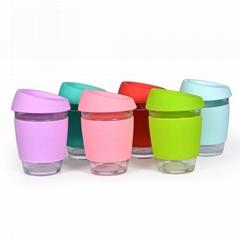 12OZ Reusable glass coffee mugs With silicone sleeve