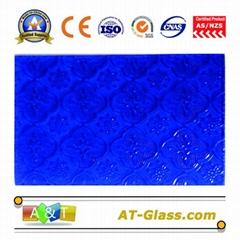 4mm  Blue Flora Patterned Glass for window furniture door