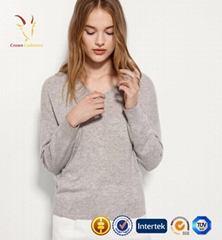 Women Custom 100% Erdos Cashmere V-neck Sweater