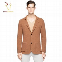 New Style V Neck Cashmere Wool Knitted Coat For Men