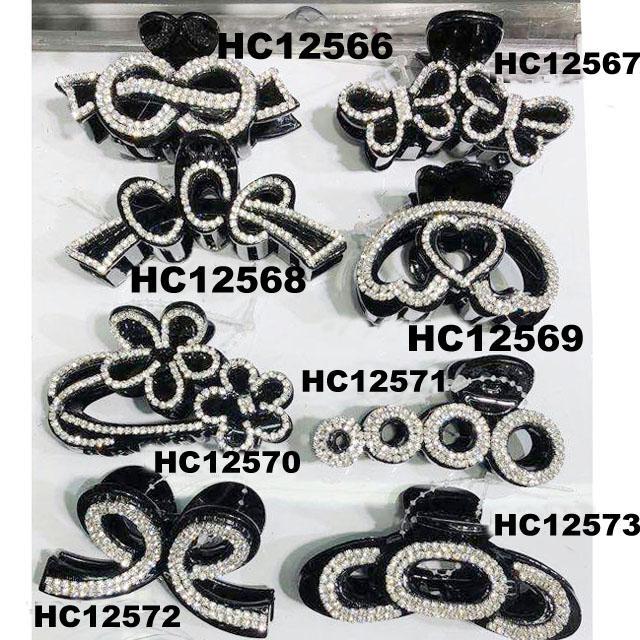 fashion clear crystal rhinestone plastic hair claw clips in stock 6