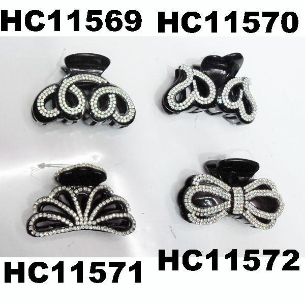 fashion clear crystal rhinestone plastic hair claw clips in stock 14
