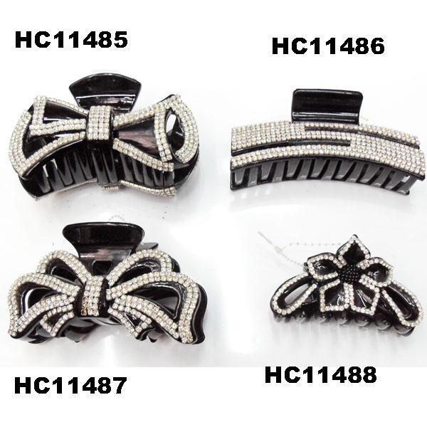 fashion clear crystal rhinestone plastic hair claw clips in stock 19