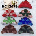 wholesale fashion women flower crystal stone plastic hair clips