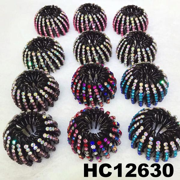 women ladies colorful crystal stone pumpkin round plastic hair clips wholesale 1
