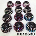 women ladies colorful crystal stone pumpkin round plastic hair clips wholesale