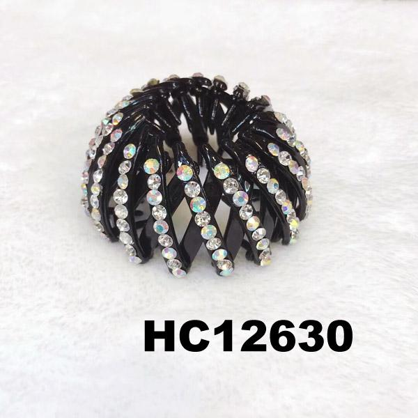 women ladies colorful crystal stone pumpkin round plastic hair clips wholesale 2