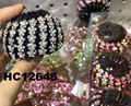 women ladies colorful crystal stone pumpkin round plastic hair clips wholesale 3
