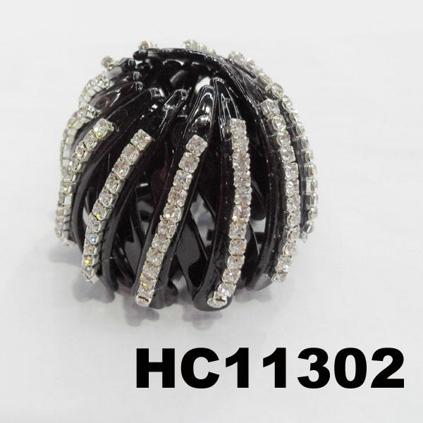 women ladies colorful crystal stone pumpkin round plastic hair clips wholesale 4