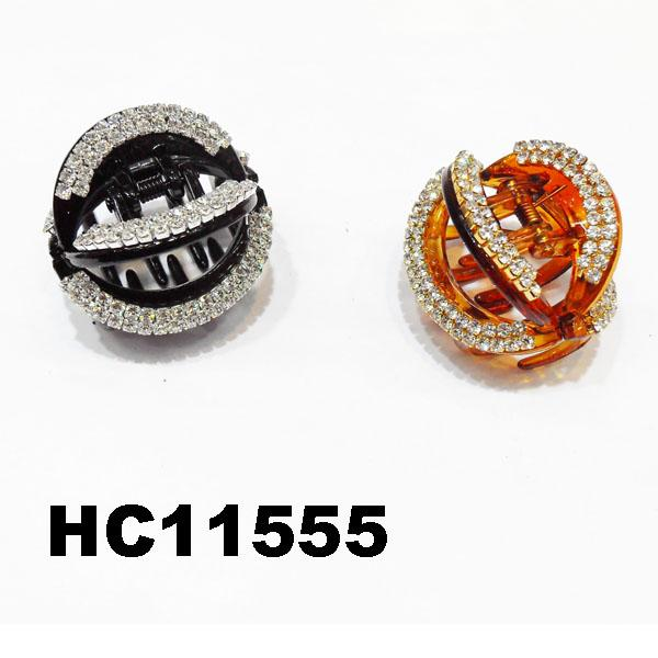 women ladies colorful crystal stone pumpkin round plastic hair clips wholesale 14