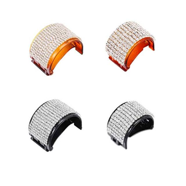 women ladies colorful crystal stone pumpkin round plastic hair clips wholesale 17