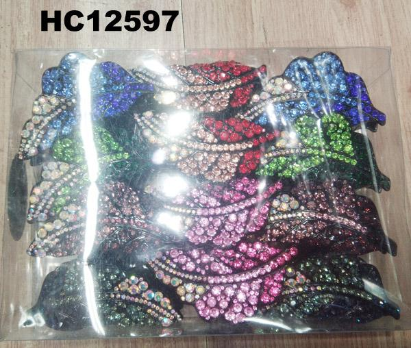 wholesale women colored crystal stone leaf design plastic hair claw clips 2